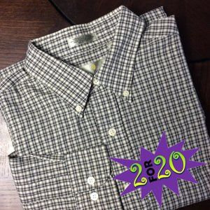 Men's Bill Blass Casual Shirt L Long Sleeve Plaid